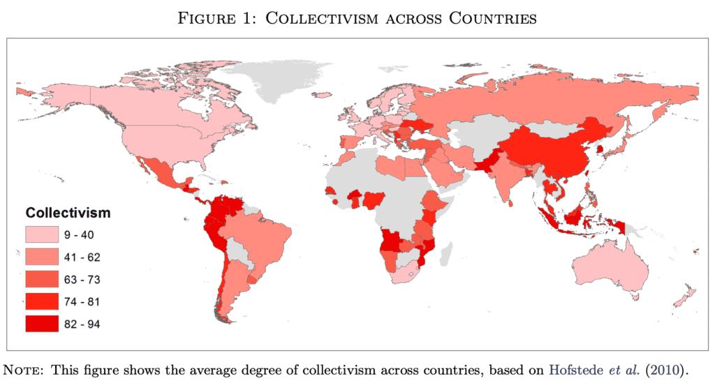 Карта Индивидуализма-Коллективизма по странам